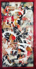 "27"" x 51"", magazine clippings and latex paint on canvas, 2015"