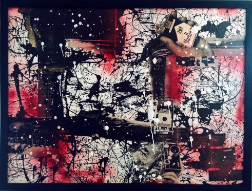 "39"" x 51"", magazine clippings, latex paint and spray paint on canvas, 2014"